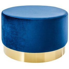 Moebel Living Modrý sametový taburet Bono 55 cm