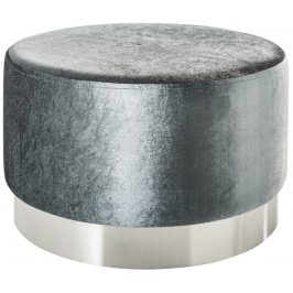 Moebel Living Stříbrný sametový taburet Bono 55 cm