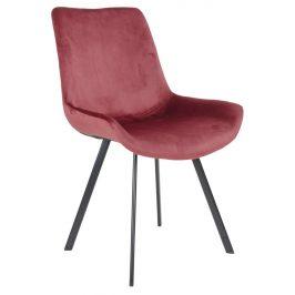Červená sametová jídelní židle Nordic Living Drammen