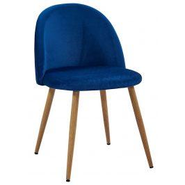 Villa Style Tmavě modrá sametová židle Finest II s prošíváním