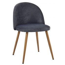 Villa Style Tmavě šedá sametová židle Finest II s prošíváním
