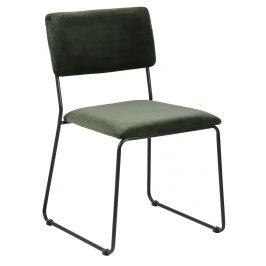 SCANDI Tmavě zelená sametová jídelní židle Litta