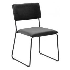 SCANDI Tmavě šedá sametová jídelní židle Litta