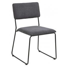 SCANDI Tmavě šedá látková jídelní židle Litta