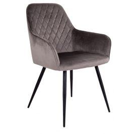 Šedá sametová jídelní židle Nordic Living Malvik