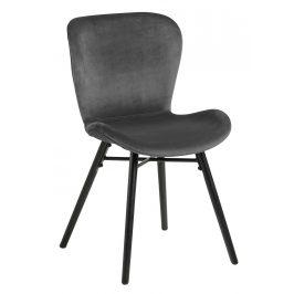 SCANDI Tmavě šedá sametová jídelní židle Matylda