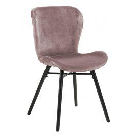 SCANDI Růžová sametová jídelní židle Matylda