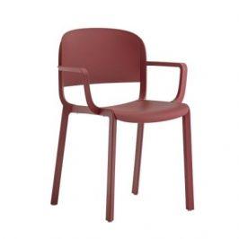 Pedrali Červená plastová židle Dome 265 s područkami