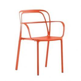 Pedrali Oranžová kovová židle Intrigo 3715