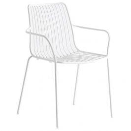 Pedrali Bílá kovová židle Nolita 3656 s područkami