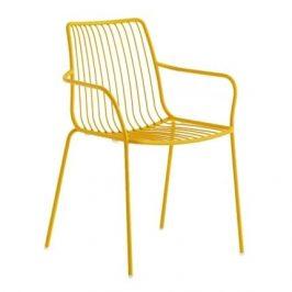 Pedrali Žlutá kovová židle Nolita 3656 s područkami