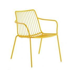 Pedrali Žlutá kovová židle Nolita 3659 s područkami