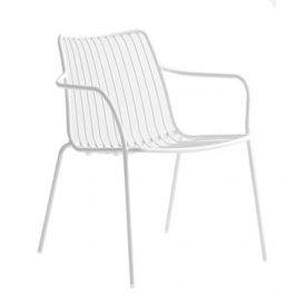 Pedrali Bílá kovová židle Nolita 3659 s područkami