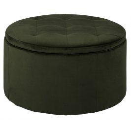 SCANDI Tmavě zelený taburet s úložným prostorem Tate