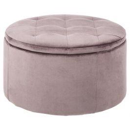 SCANDI Růžový taburet s úložným prostorem Tate