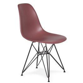 Culty Gold Malinově růžová plastová židle DSR s černou podnoží