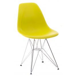 Culty Olivová plastová židle DSR s chromovou podnoží Židle do kuchyně