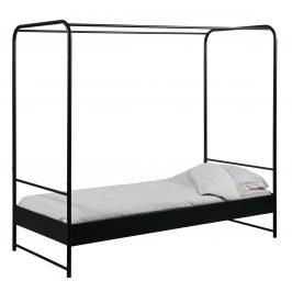 Hoorns Černá kovová jednolůžková postel Alma, 90x200 cm