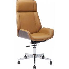 KARE DESIGN Hnědá kožená kancelářská židle High Bossy