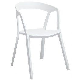 Culty Gold Bílá plastová jídelní židle Cordelia