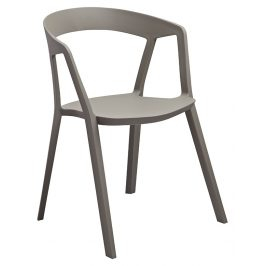 Culty Gold Šedá plastová jídelní židle Cordelia