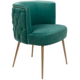 Zelená sametová židle Bold Monkey Such A Stud Židle do kuchyně