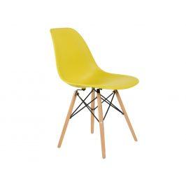 Culty Olivově žlutá plastová židle DSW