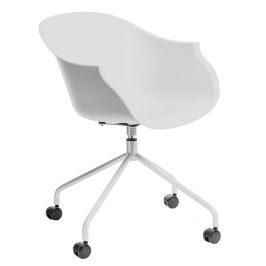 Culty Bílá otočná plastová židle na kolečkách Duke