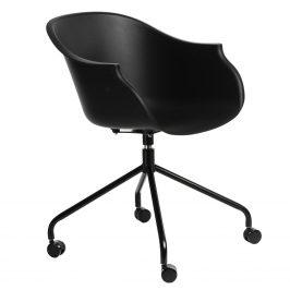 Culty Černá otočná plastová židle na kolečkách Duke