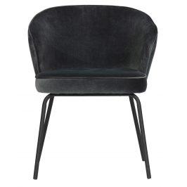 Hoorns Ocelově modrá sametová jídelní židle Millie