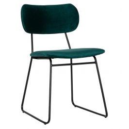 Hoorns Petrolejově zelená sametová jídelní židle Clea
