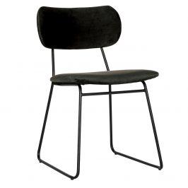 Hoorns Černá sametová jídelní židle Clea