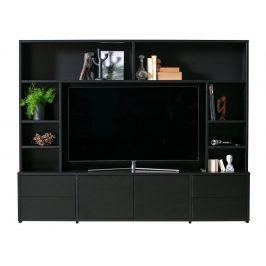 Hoorns Černá dřevěná TV stěna Alton 215 x 171 cm