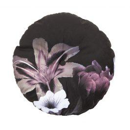 Hoorns Černý kulatý sametový polštář Tallulah s růžovým květinovým motivem, O 45