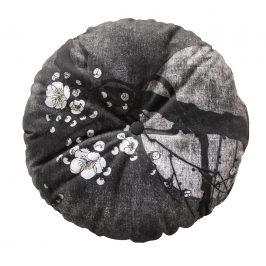 Hoorns Černý kulatý sametový polštář Tallulah s motivem nočního květu, O 45