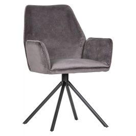 Hoorns Šedá sametová jídelní židle Raveena