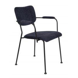 Tmavě modrá čalouněná židle ZUIVER BENSON s područkami