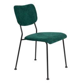 Tmavě zelená čalouněná židle ZUIVER BENSON