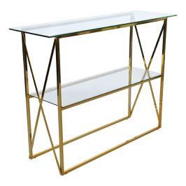 Zlatý skleněný toaletní stolek RGE Cross 110 x 32 cm