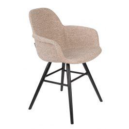 Béžová sametová jídelní židle ZUIVER ALBERT KUIP s područkami