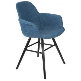 Modrá sametová jídelní židle ZUIVER ALBERT KUIP s područkami