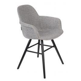 Světle šedá sametová jídelní židle ZUIVER ALBERT KUIP s područkami