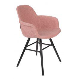 Růžová sametová jídelní židle ZUIVER ALBERT KUIP s područkami