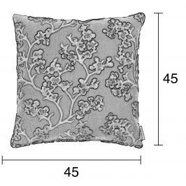 Bílý polštář ZUIVER APRIL s květinovým vzorem