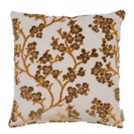 Okrový polštář ZUIVER APRIL s květinovým vzorem