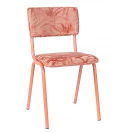 Růžová čalouněná jídelní židle ZUIVER BACK TO MIAMI s palmovým motivem