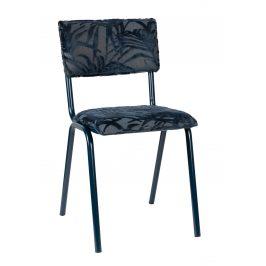 Tmavě modrá čalouněná jídelní židle ZUIVER BACK TO MIAMI s palmovým motivem
