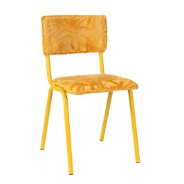 Žlutá čalouněná jídelní židle ZUIVER BACK TO MIAMI s palmovým motivem