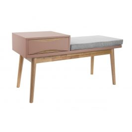 Time for home Růžová lavice Valentino s úložným prostorem