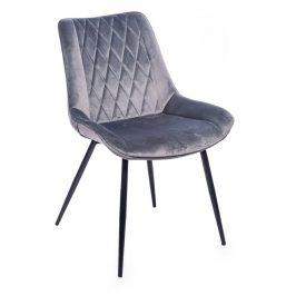 Concept design Tmavě šedá sametová jídelní židle Calista